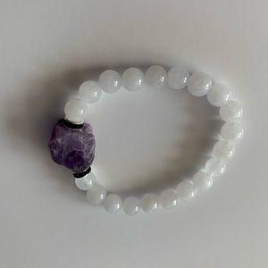 Amethyst white chalcedony bracelet